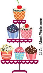 cioccolato, stare in piedi, frutta, set, cupcakes, vettore