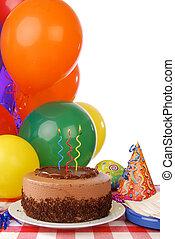 cioccolato, torta compleanno, e, palloni
