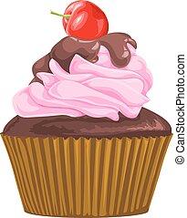 cioccolato, vettore, cherry., cupcake