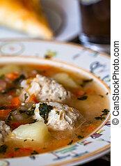 Ciorba de perisoare is a Romanian traditional sour soup