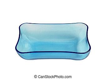 ciotola blu, isolato, vetro, fondo, bianco