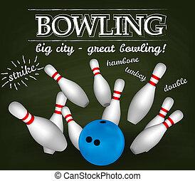 ciotola, bowling, poster., pins.