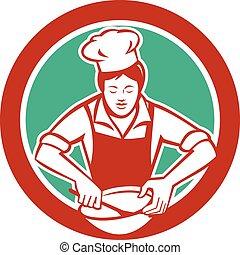 ciotola, chef, retro, femmina, miscelazione, cerchio