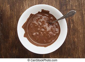 ciotola, cioccolato, crema, dessert