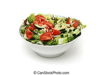 ciotola, fresco, insalata, isolato, bianco, fondo
