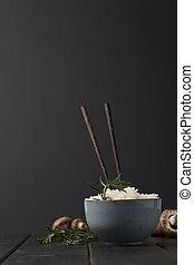 ciotola, funghi, saporito, bastoncini, nero, riso, tabletop