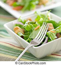 ciotola insalata, con, forchetta