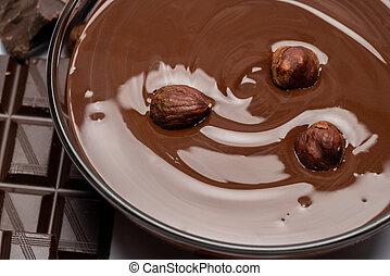 ciotola, isolato, cioccolato, vetro, caramellato, bianco, o, crema