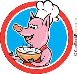 ciotola, maiale, chef, presa a terra, cuoco, cerchio, cartone animato