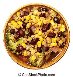 ciotola, minestra lenticchia, vista superiore, sopra, bianco