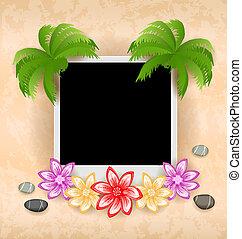 ciottoli, cornice, fiore, palma, mare
