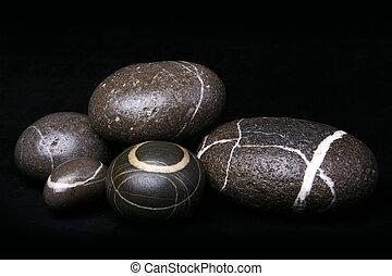 ciottoli,  set, pietre, nero, fondo, strisce