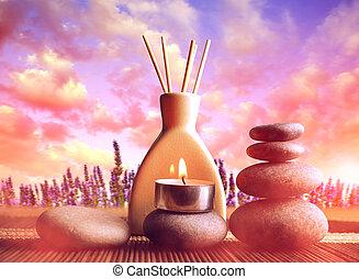 ciottoli, zen, freshener, aria, candela, sunset.