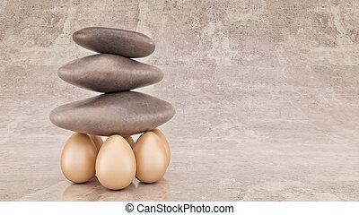 ciottolo, concetto, gruppo, lifted., affari, interpretazione, forza, roccia, organizzazione, o, 3d