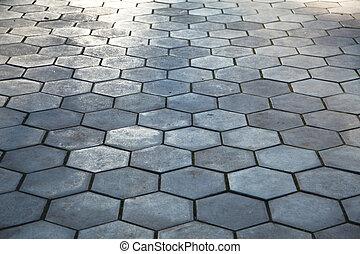 ciottolo, marciapiede, pavimentazione