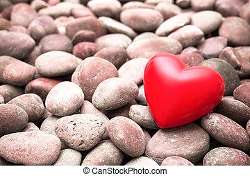 ciottolo, pietre, cuore, rosso