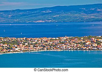 Ciovo island aerial panoramic view