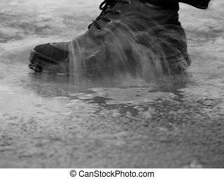 cipő, alatt, víz
