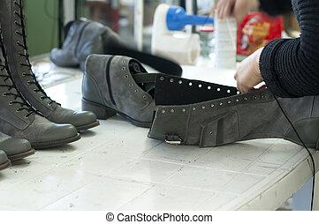 cipő, előállít, kézi munka