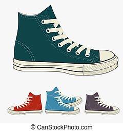 cipők, állhatatos, tornaterem, sport, gumitalpú cipő, mens