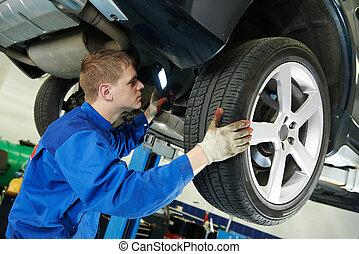 cipők, autó, eximining, fékez, szerelő, autó