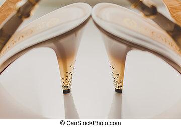 cipők, elegáns, finom, closeup, esküvő, lakodalmi, fehér