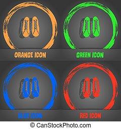 cipők, elegáns, modern, narancs, kék, vektor, zöld, icon., style., piros, design.