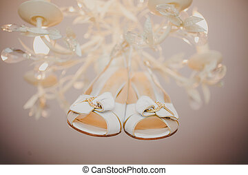 cipők, finom, closeup, esküvő, lakodalmi, fehér
