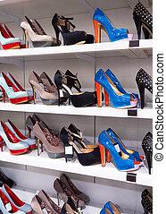 cipők, háttér, polc
