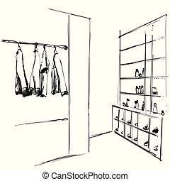 cipők, hanger., polc, kéz, szekrény, húzott, öltözék, sketch.