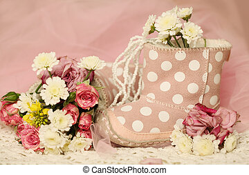 cipők, kellemes, agancsrózsák, születésnap, háttér, csecsemő lány, menstruáció