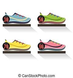 cipők, polc, ábra, futás, vektor, szegély kilátás