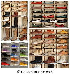 cipők, polc, megkorbácsol, -, exibition, kollázs, különféle
