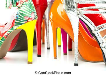 cipők, színes, feláll magas, dönt, becsuk