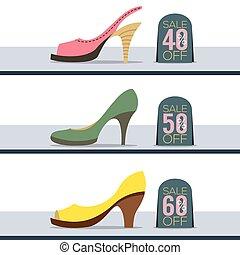 cipők, színes, kiárusítás, ábra, magas, vektor, megsarkal