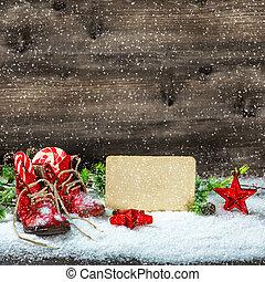 cipők, szüret, hó, dekoráció, csillaggal díszít, csecsemő, esés, karácsony