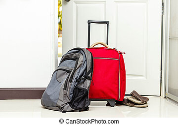 cipők, utazás, táska, hátizsák, piros
