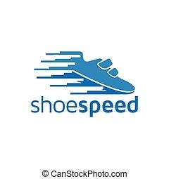 cipők, vektor, jel, sport, gyorsaság, ikon