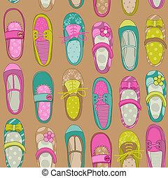 cipők, -, vektor, tervezés, háttér, csecsemő, scrapbook, leány, vagy