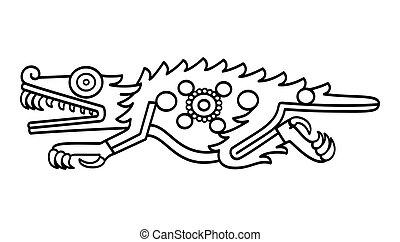cipactli, fekete, fehér, krokodil, aztec, ábra, jelkép