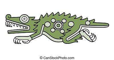 cipactli, nap, krokodil, számol, divinatory, is, aztec, először, jelkép