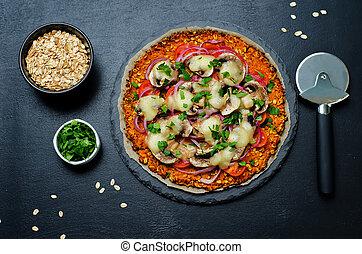 cipolla, patata, dolce, crosta, tomato;, funghi, rosso, ...
