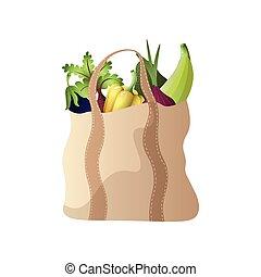 cipolla, verdura, eco, moderno, paprica, tessile, borsetta, melanzana
