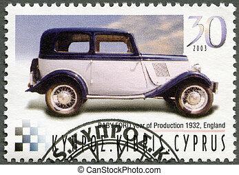 cipro, -, circa, 2003, :, uno, francobollo, stampato, in, cipro, mostra, bambino, guado, anno, di, produzione, 1932, inghilterra, serie, anticaglia, automobili, circa, 2003