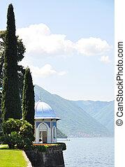 ciprusfa, alpok, város, olaszország, építészet, tó,...