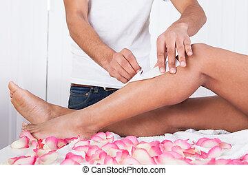 ciré, jambes, femme