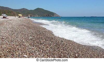 Cirali pebble Beach. Mediterranean Sea. Kemer. Antalya....