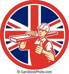 circ-uk-flag-icon, の上, 親指, carpenter-lumber-walking