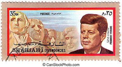 circa, 肯尼迪, 美國, 1973:, fitzgerald, -, 1973., sharjah, 總統, 約翰, 35th