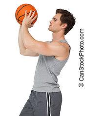 circa, adattare, presa a terra, uomo, pallacanestro